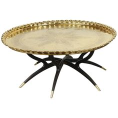 View This Item And Discover Similar Tray Tables For Sale At   Anglo Indian  Engraved And Embossed Large Round Polished Brass Tray Coffee Table.