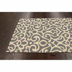 Handmade Alexa All Over Damask Wool Rug (7'6 x 9'6) | Overstock.com