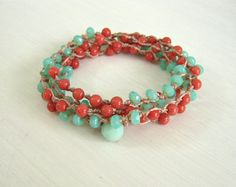 Aqua Green & Coral Boho Wrap Bracelet, Seafoam Green, Bohemian Knotted Necklace, Trendy Boho Jewelry