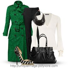 This is a great looking outfit!! All I need is a green coat and black fitted slacks! ^_^