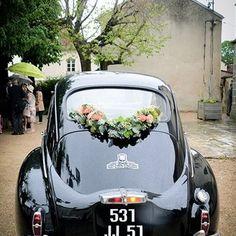 dcoration de voiture mariage guirlande de fleurs - Location 2cv Mariage