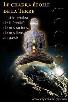 Le chakra Étoile de la Terre est le chakra de l'hérédité qui gère notre patrimoine génétique, il contient la mémoire du voyage de l'Âme et des chemins innombrables d'une vie.