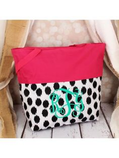 www.ewam.com Market Shopping Tote in Black Brushed Dots and Pink