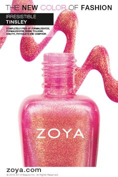 "Zoya nail polish in Tinsley from the Summer Irresistible Collection (""best described as a full-coverage, rose-gold foil metallic"")"