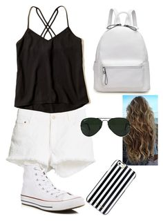 """""""Untitled #28"""" by mae1143 on Polyvore featuring Hollister Co., STELLA McCARTNEY, Converse, Ray-Ban and MICHAEL Michael Kors"""