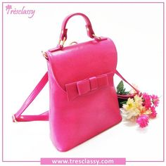 Our Bright Pink Bow Back Pack Cum Sling bag  Visit us @ www.tresclassy.com or contact us on 8655432303  #ranipink #brightpink #backpack #designerhandbag #fashion #backpacklovers #bowbag #like4like #shopping #luxury  #TresclassyHandbags #instagood #followme #photooftheday #shoppingspree #f4f #followme