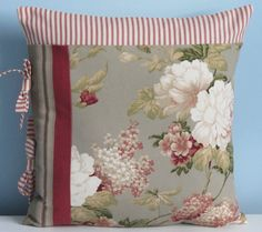 French Country Cottage pillow cover. Red tan by SterlingStitchery