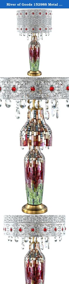 River of Goods 15298S Metal Mosaic Table Lamp with Hanging Crystals, Magenta/Green. Life is fun and free! So is this beautifully crafted crystal beaded table lamp with glass mosaic base. The metal shade features a lace work pattern, turquoise gems, and clear hanging crystals. The base is a glass mosaic design with silvers and pinks Each piece alone is stunning, but put them together and you have a showstopper! Great for a forgotten corner of your living room, or as a focal point in the...