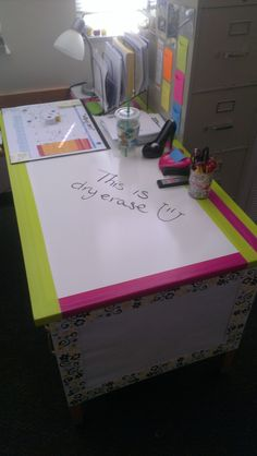 Use dry erase contact paper and fun duct tape to make your classroom desk more fun and versatile. From mommasaysmathrocks.blogspot.com