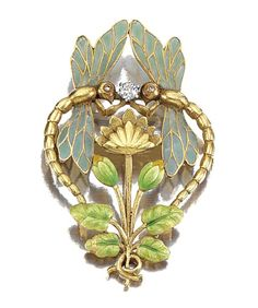 ENAMEL AND DIAMOND BROOCH, LATE 19TH CENTURY - designed as a pair of opposing dragonflies with plique-a-jour enamel wings and diamond enhanced eyes, surrounding a stylised Kingcup, the leaves and buds further embellished with enamelled decoration. | Sotheby's