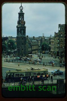 Original Slide, Netherlands Amsterdam Tram Trolley #530, late 1950s