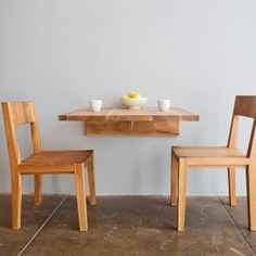 Wall Mounted Dining Table that folds up and down. great for a small space solution