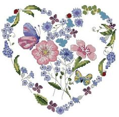 VK is the largest European social network with more than 100 million active users. Butterfly Cross Stitch, Butterfly Art, Cross Stitch Flowers, Cross Heart, Cross Stitch Heart, Cross Stitch Designs, Cross Stitch Patterns, Cross Stitch Embroidery, Kitty