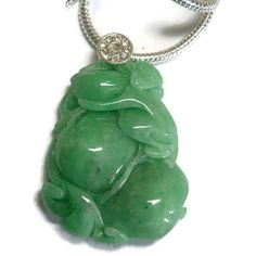 Carved jade pendant, monkey with peach, natural green jade, jade necklace, vintage Chinese jade, carved jade necklace, nephrite necklace
