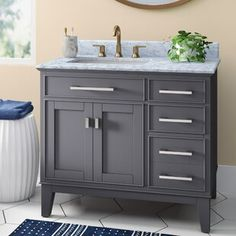 "Warburton 48"" Single Bathroom Vanity Set | Joss & Main Grey Bathroom Cabinets, Blue Bathroom Vanity, 36 Vanity, Blue Vanity, Grey Bathroom Tiles, Vanity Set With Mirror, Single Bathroom Vanity, Bathroom Vanities, Single Vanities"