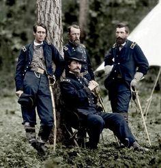 US Generals Francis Barlow, Winfield Scott Hancock, David Birney, and John Gibbon