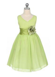Green Flower Girl Dresses | Home » Lime Green Chiffon Flower Girl Dress