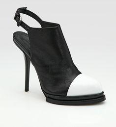 Caroline Patent Leather Contrast Captoe Slingback Ankle Boots