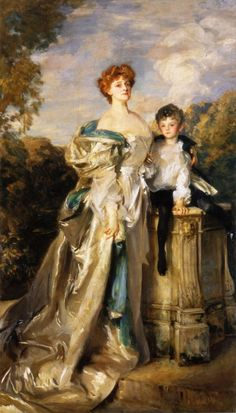 """""""The Countess of Warwick and Her Son"""" (1904-1905) by John Singer Sargent (1856-1925)."""