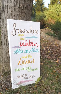 Wizard of Oz - Somewhere Over the Rainbow - 10x20 Canvas Art on Etsy, $60.00