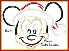 Christmas Santa Mickey Mouse Sketch Digital Embroidery Machine