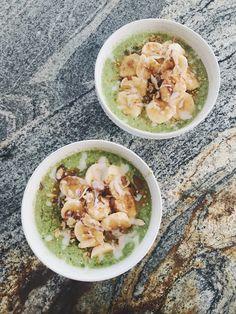 Coconut Yogurt, Coconut Water, Bee Pollen, Frozen Fruit, Sliced Almonds, Raw Honey, Hemp Seeds, Smoothie Bowl, Bowls