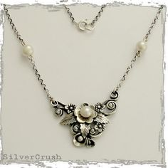 sterling silver leaf necklace with  pearls  After by silvercrush ~ <3