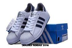 new style 5c0e5 2ec80 Chaussures En Solde - Homme Adidas Chaussures Superstar Ii Profonde Bleu  Blanc Deep Blue, Adidas