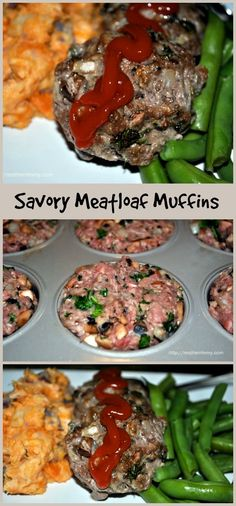 Savory Meatloaf Muffins - terrific for portion control, and you can use ground beef, chicken or turkey in the mix. Replace breadcrumbs with almond meal.