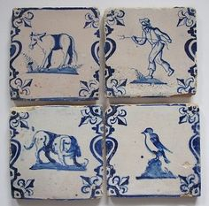 4 Antique Socalled Baluster Delft Delftware Tiles with Cow Farmer Dog and Bird | eBay