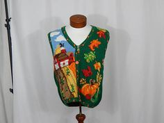 UGLY CHRISTMAS SWEATER Vest Medium M Fall Autumn Thanksgiving