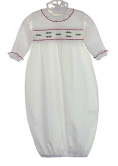 NEW White Pima Cotton Knit Smocked Daygown with Holly Embroidery $50.00