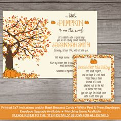 Fall Baby Shower Invitations Printed Invitations by PartyPrintery