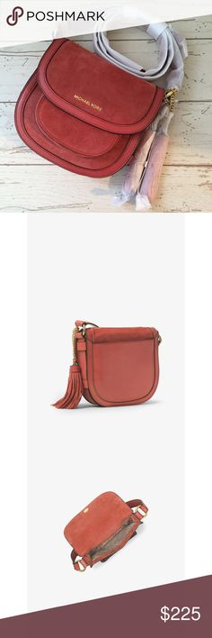 Michael Kors Dunn Saddle Bag Boho inspired suede saddlebag with fun tassels in a cinnamon red shade. Can be worn as a crossbody or shoulder bag. Brand new with tags and in original wrapping! Includes duster bag. Michael Kors Bags Crossbody Bags