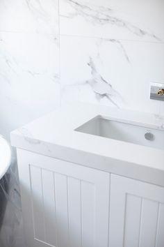 A sneak peek on Three Birds Renovations' House Five reveals a lovely kitchen, shelf & bathrooms that features Caesarstone quartz surfaces. Bird Bathroom, Lake House Bathroom, Bathroom Kids, Laundry In Bathroom, Downstairs Bathroom, Bathroom Colors, Small Bathroom, Master Bathroom, Bathrooms