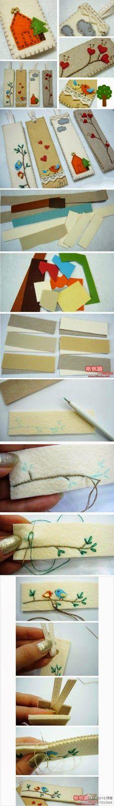 Minha Casinha Rosa: Marcador de página feito de feltro.