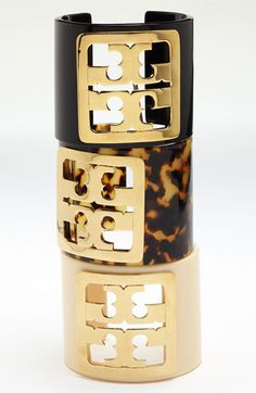 Tory Burch Framed Logo Cuff available at #Nordstrom.  Amazing.  Love the tortoise shell one.