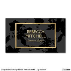 Elegant Dark Gray Floral Pattern with Gold Accents Customizable Business Card for Interior Designers.