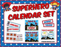 If you have a Superhero Theme in your classroom, you must get this Calendar Set. It includes months, days, Today is..., Yesterday Was..., Tomorrow is..., Days in School, and the Weather. Really cute! $