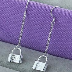 Silver plated delicate lock dangle earrings New! Sterling silver plated. Price final unless bundled for 15% off. No trades💛 Jewelry Earrings