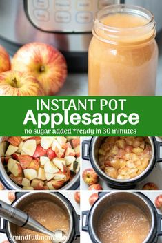 Instant Pot Applesauce - Darleen Placey - Instant Pot Applesauce This is the EASIEST and BEST making Applesauce I have EVER made. All made in Instant Pot no-sugar added! This Homemade Applesauce is ready in less than 30 minutes and perfectly delicious! Instapot Applesauce, Canned Applesauce, How To Make Applesauce, Homemade Applesauce, Applesauce Recipes, Crock Pot Applesauce, Pressure Cooker Applesauce, Apple Recipes, Slow Cooker