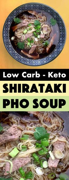 """Keto Shirataki Beef Pho is a classic Vietnamese noodle soup that I know should be pronounced """"fuh"""" like fun, but my heart still wants to pronounce """"foh"""" like phone. It is a hearty Asian noodle soup with only net carbs per bowl of soup. Asian Noodles, Beef And Noodles, Vietnamese Noodle, Vietnamese Recipes, Keto Recipes, Healthy Recipes, Recipes Dinner, Dinner Ideas, Healthy Snacks"""