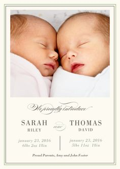 Twin Birth Announcements - Double the Cuteness