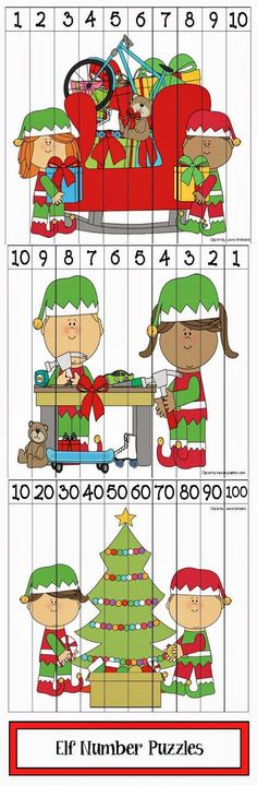 Classroom Freebies: Elf Themed Number Puzzles