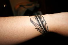 Feather Band wrist arm simple single tattoo