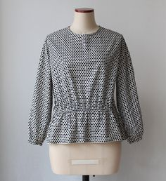 Peplum blouse Cotton Spring Summer blouse  Black and by Negitoros