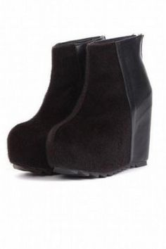 Shoes :: Boots :: Faux Suede Leather High Heels Wedges Platforms Rock Funky Ankle Boots