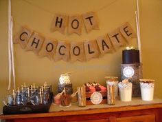 Crafting & Hot Chocolate Party - Simple Hot Chocolate Bar for party - Time to plan it. Brunch, Holiday Parties, Holiday Fun, Xmas Party, Winter Parties, Holiday Ideas, Snow Party, Winter Ideas, Hot Chocolate Party