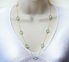 Natural Faceted Aqua Seafoam Chalcedony  Gold by DaniqueJewelry, $65.99
