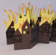 Great Fire of London craft project for primary school teachers. Fire London, Great Fire Of London, The Great Fire, School Art Projects, Projects For Kids, Craft Projects, Craft Ideas, School Displays, Classroom Displays